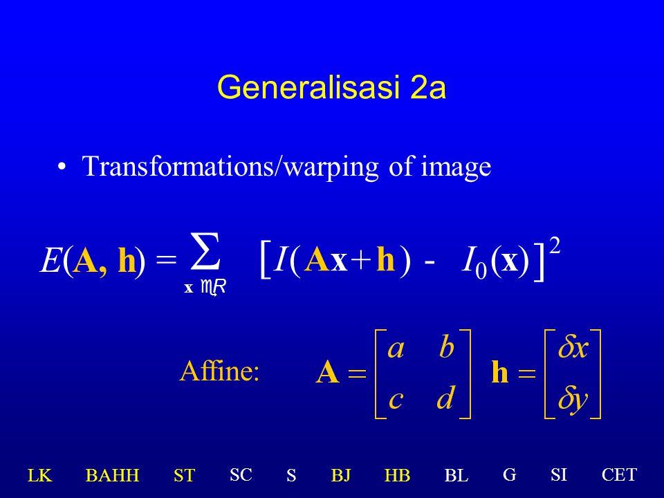 S [ ] E ( A, h ) = I ( Ax + h ) - I0 ( x ) 2 Generalisasi 2a